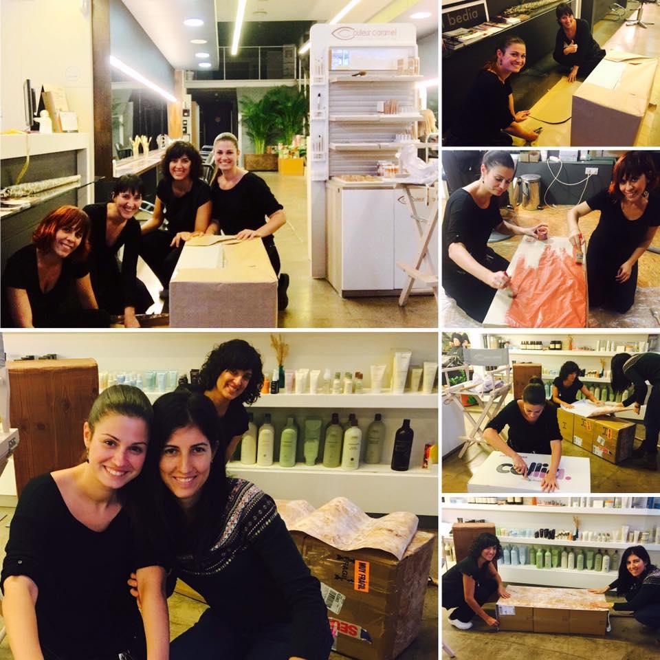 equipo-colaborando escaparate navidad isabel bedia 2016