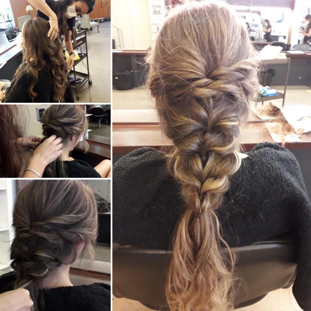 realizando peinado novia